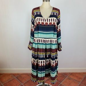 ELOQUII Aztec Pleated Maxi Dress